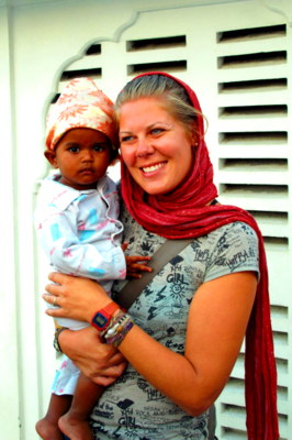 Amritsar, India Jessie posing with a cute baby