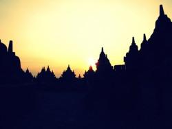 Borobudur at sunrise Java, Indonesia