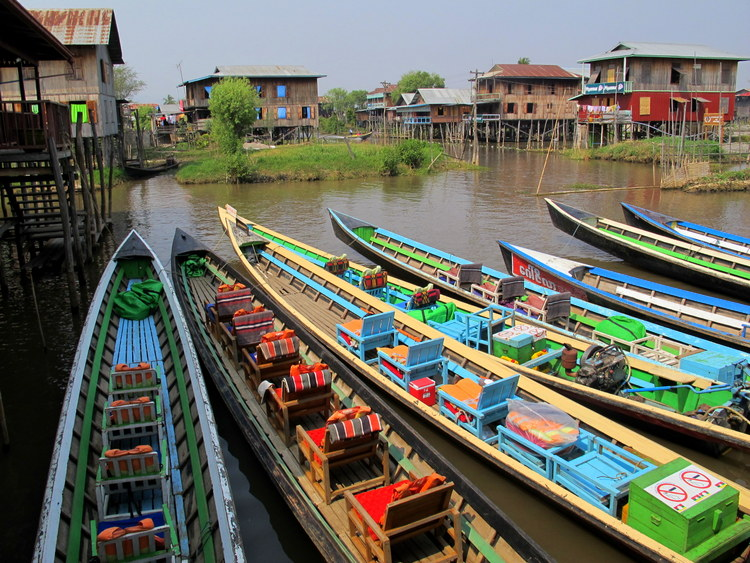Boats in a line Inle Lake, Myanmar