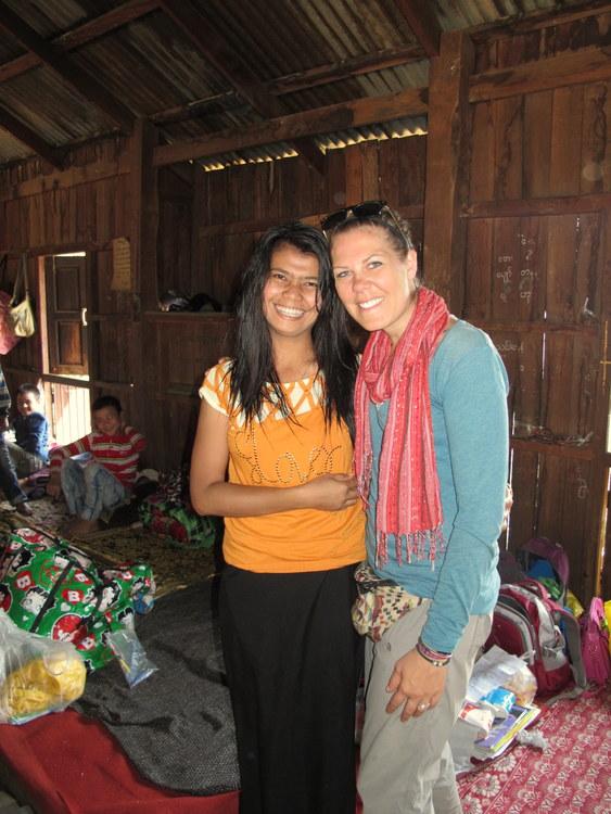 Jessie and a teacher in a Palaung Village