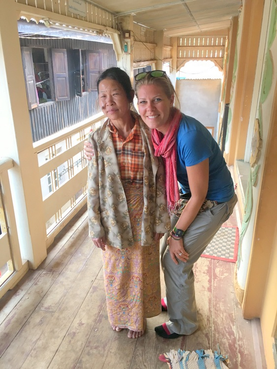 Jessie and elderly woman at a monestary