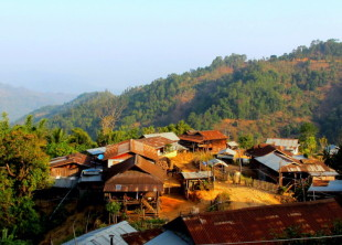 Small mountain village Myanmar