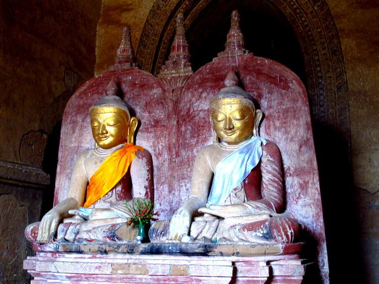 Buddha image inside a paya Bagan, Myanmar