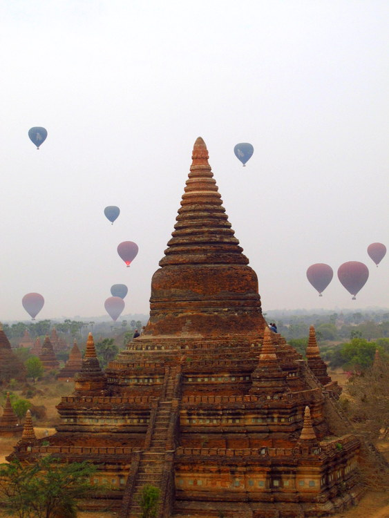 Hot air balloons at dawn in Bagan, Myanmar