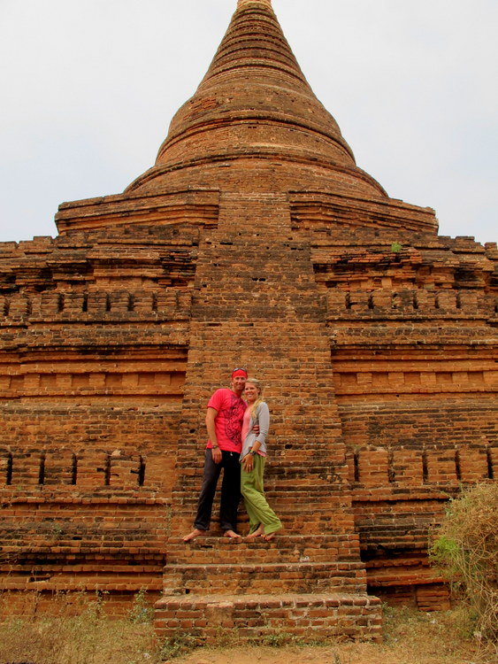 Us at a pagoda in Bagan, Myanmar