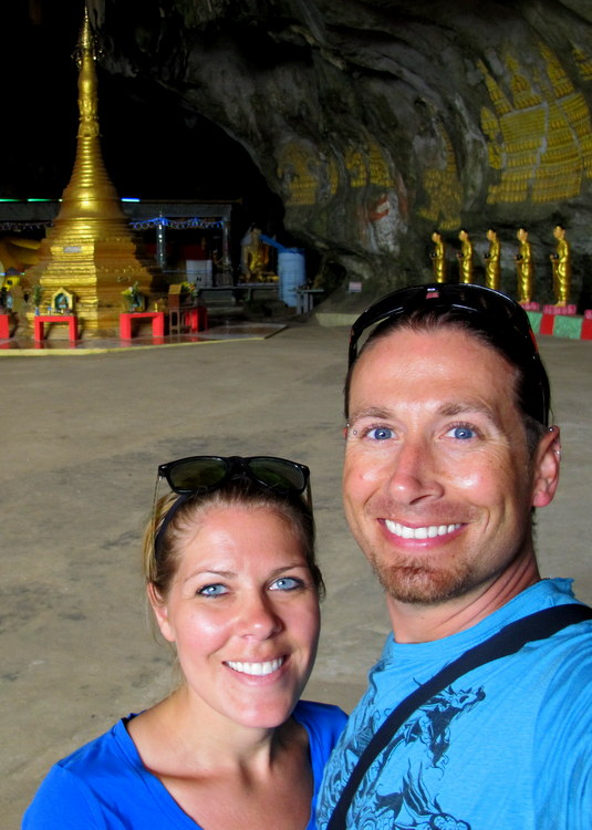 Us in a cave temple Hpaan, Myanmar